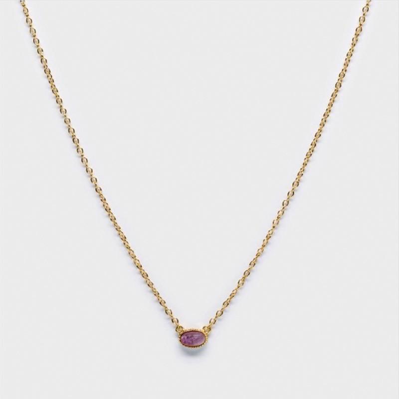 Amethyst Dreams Bezel Necklace-Gold